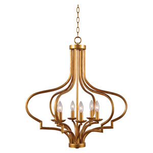 Morocco Light Gold Six-Light Chandelier