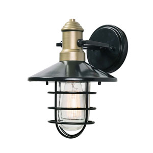 Outlook Blackened Bronze and Gold 9-Inch One-Light Small Outdoor Wall Lantern