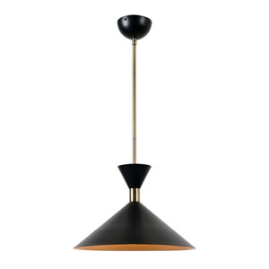 Arne Matte Black with Antique Brass One-Light Pendant