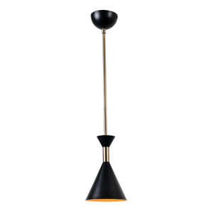 Arne Matte Black with Antique Brass One-Light Mini Pendant