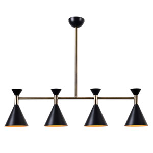 Arne Matte Black with Antique Brass Four-Light Island Pendant