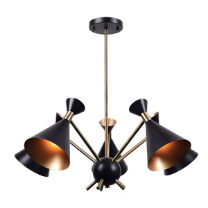 Arne Matte Black with Antique Brass Five-Light Chandelier