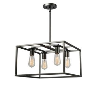 Cubed Graphite 17-Inch Four-Light Chandelier