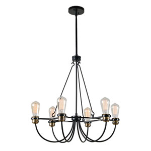 Damien Black with Plated Antique Brass 26-Inch Six-Light Chandelier