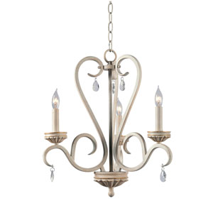 Marcella Weathered White with Gold Highlight 19-Inch Three-Light Chandelier