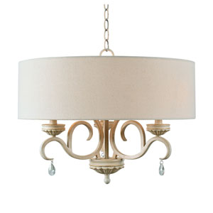 Marcella Weathered White with Gold Highlight 22-Inch Three-Light Pendant