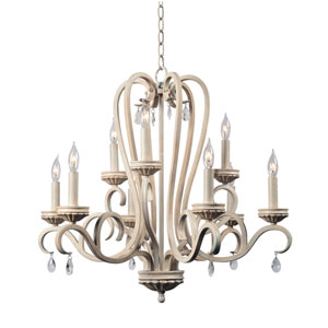 Marcella Weathered White with Gold Highlight 25-Inch Nine-Light Chandelier