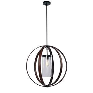 Olivia Bronze with Dark Wood 27-Inch One-Light Pendant