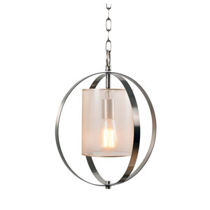 Veil Brushed Steel with Translucent Champagne 13-Inch One-Light Mini Pendant