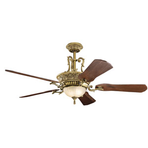 Kimberley Burnished Antique Brass 60-Inch Three-Light LED Ceiling Fan