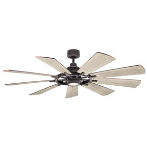 Gentry Weathered Zinc LED 65-Inch Ceiling Fan