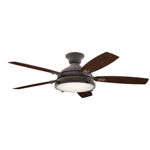 Hatteras Bay Weathered Zinc 52-Inch LED Ceiling Fan