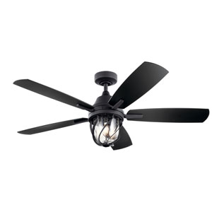 Distressed Black 52-Inch LED Three-Light Ceiling Fan