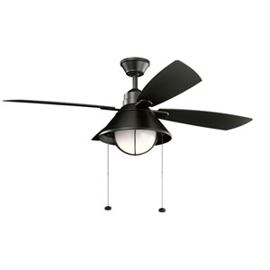 Seaside Satin Black 54-Inch LED Ceiling Fan