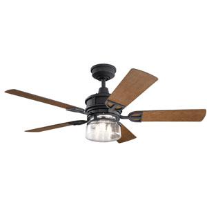Lyndon Patio Distressed Black 52-Inch Three-Light LED Ceiling Fan