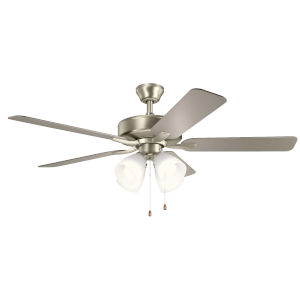Basics Pro Premier Brushed Nickel 52-Inch Ceiling Fan with White Etched Glass