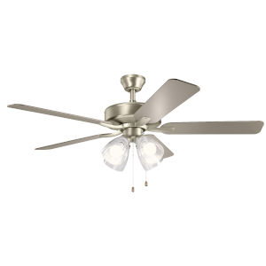 Basics Pro Premier Brushed Nickel 52-Inch Ceiling Fan with Clear Seeded Glass