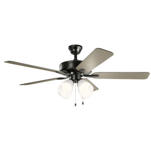 Basics Pro Premier Satin Black 52-Inch Ceiling Fan with White Etched Glass
