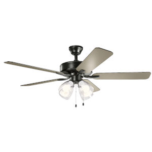 Basics Pro Premier Satin Black 52-Inch Ceiling Fan with Clear Seeded Glass