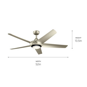Kapono Brushed Nickel 52-Inch LED Ceiling Fan