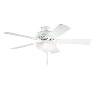Sutter Place Select Matte White 52-Inch Three-Light Ceiling Fan