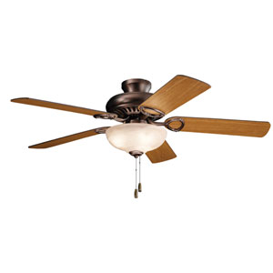 Sutter Place Select Oil Brushed Bronze 52-Inch Three-Light Ceiling Fan