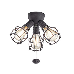 Distressed Black Three-Light Fan Light Kit