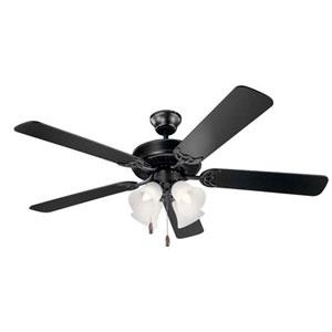 Basics Satin Black Four-Light 52-Inch Ceiling Fan