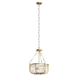 Roux Natural Brass 16-Inch Three-Light Pendant