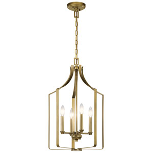 Morrigan Natural Brass Four-Light Mini Chandelier