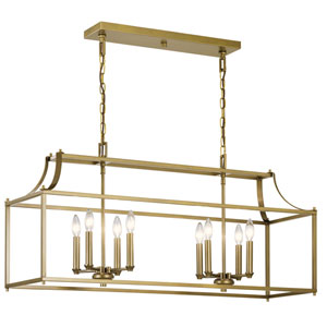Morrigan Natural Brass 19-Inch Eight-Light Chandelier