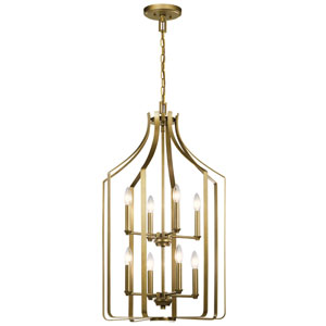 Morrigan Natural Brass 34-Inch Eight-Light Chandelier
