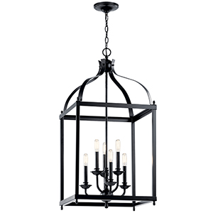 Larkin Black Six-Light Chandelier