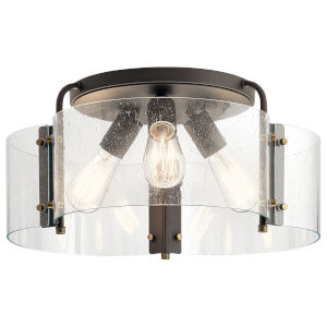 Thoreau Olde Bronze 18-Inch Three-Light Flush Mount