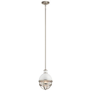 Tollis Brushed Nickel Eight-Inch One-Light Mini Pendant
