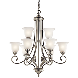 Monroe Brushed Nickel Nine-Light Energy Star LED Chandelier