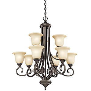 Monroe Olde Bronze Nine-Light Energy Star LED Chandelier