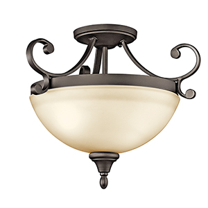 Monroe Olde Bronze Two-Light Energy Star LED Semi-Flush Mount
