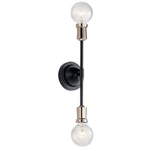 Armstrong Black Two-Light Wall Sconce