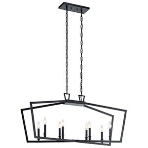 Abbotswell Black Eight-Light Chandelier