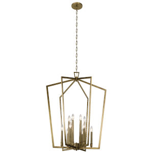 Abbotswell Natural Brass 30-Inch 12-Light Foyer Chandelier