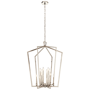 Abbotswell Polished Nickel 12-Light Chandelier