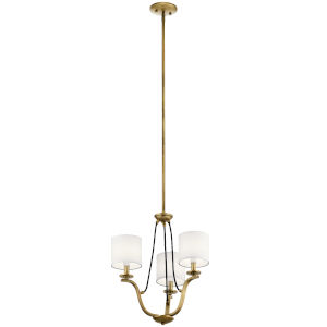 Thisbe Natural Brass 18-Inch Three-Light Chandelier
