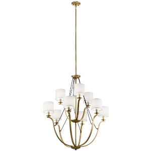 Thisbe Natural Brass 33-Inch Nine-Light Chandelier