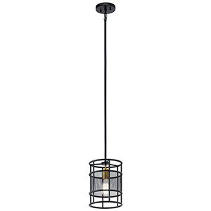 Piston Black One-Light Mini Pendant