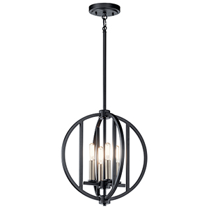 Samural Black Four-Light Chandelier