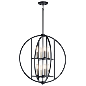 Samural Black Eight-Light Chandelier