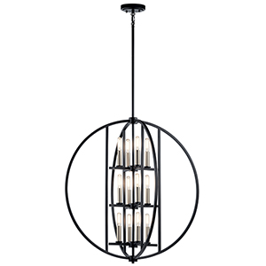 Samural Black 12-Light Chandelier