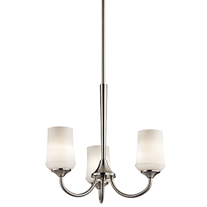 Aubrey Brushed Nickel Three-Light Energy Star LED Chandelier