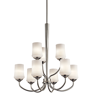 Aubrey Brushed Nickel Nine-Light Energy Star LED Chandelier